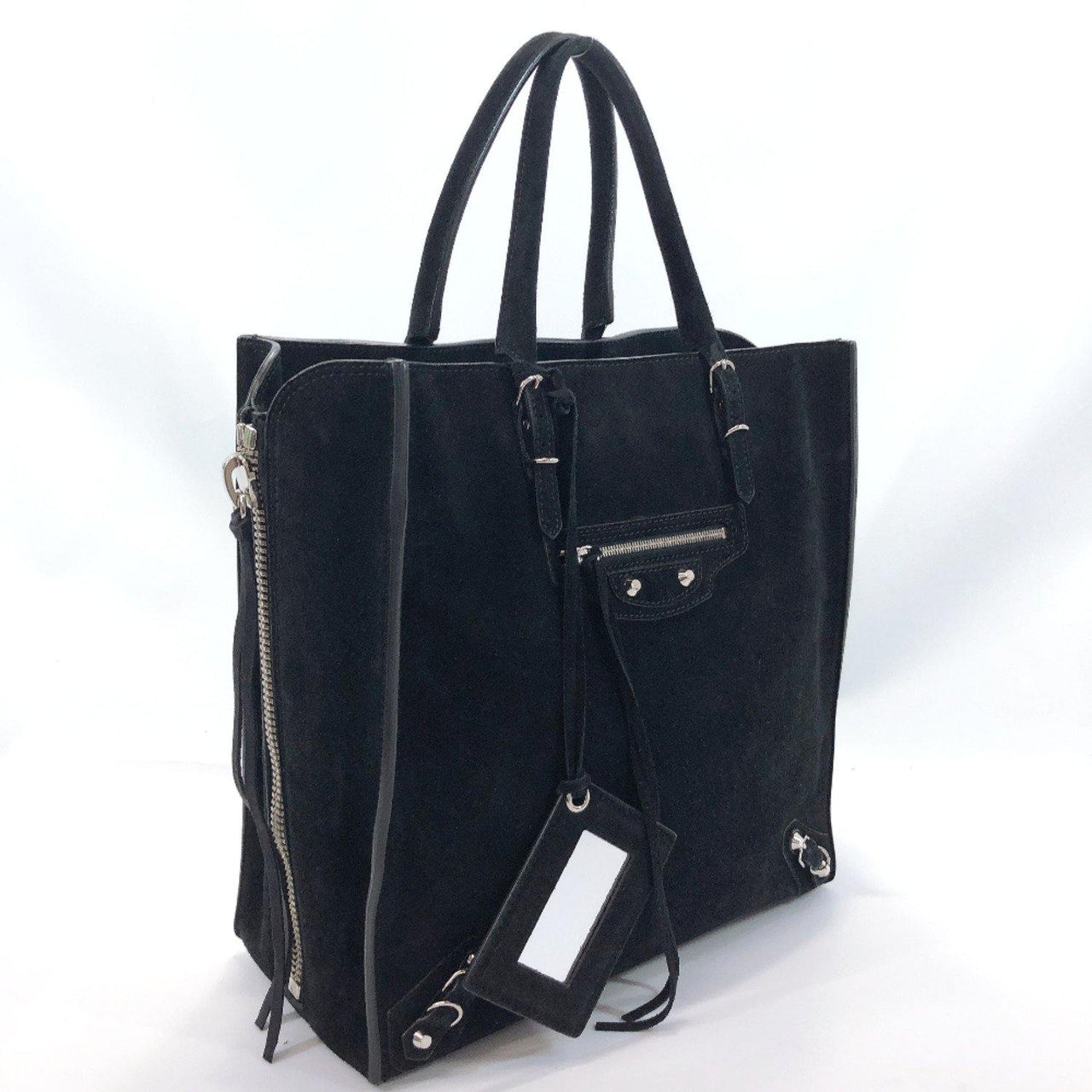 BALENCIAGA Tote Bag 357330 paper Suede black Women Used