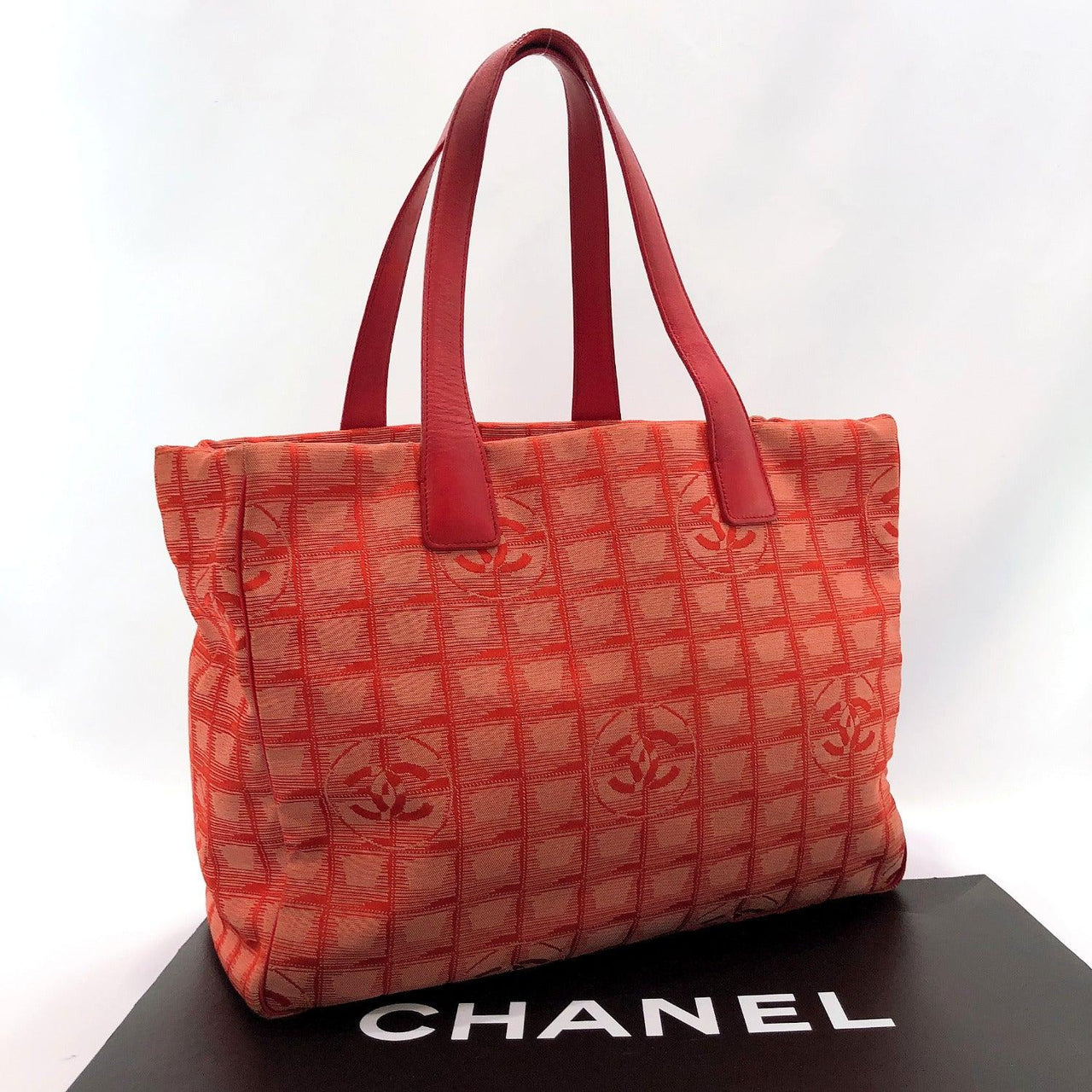 CHANEL Tote Bag New Travel Line MM Nylon Red Women Used