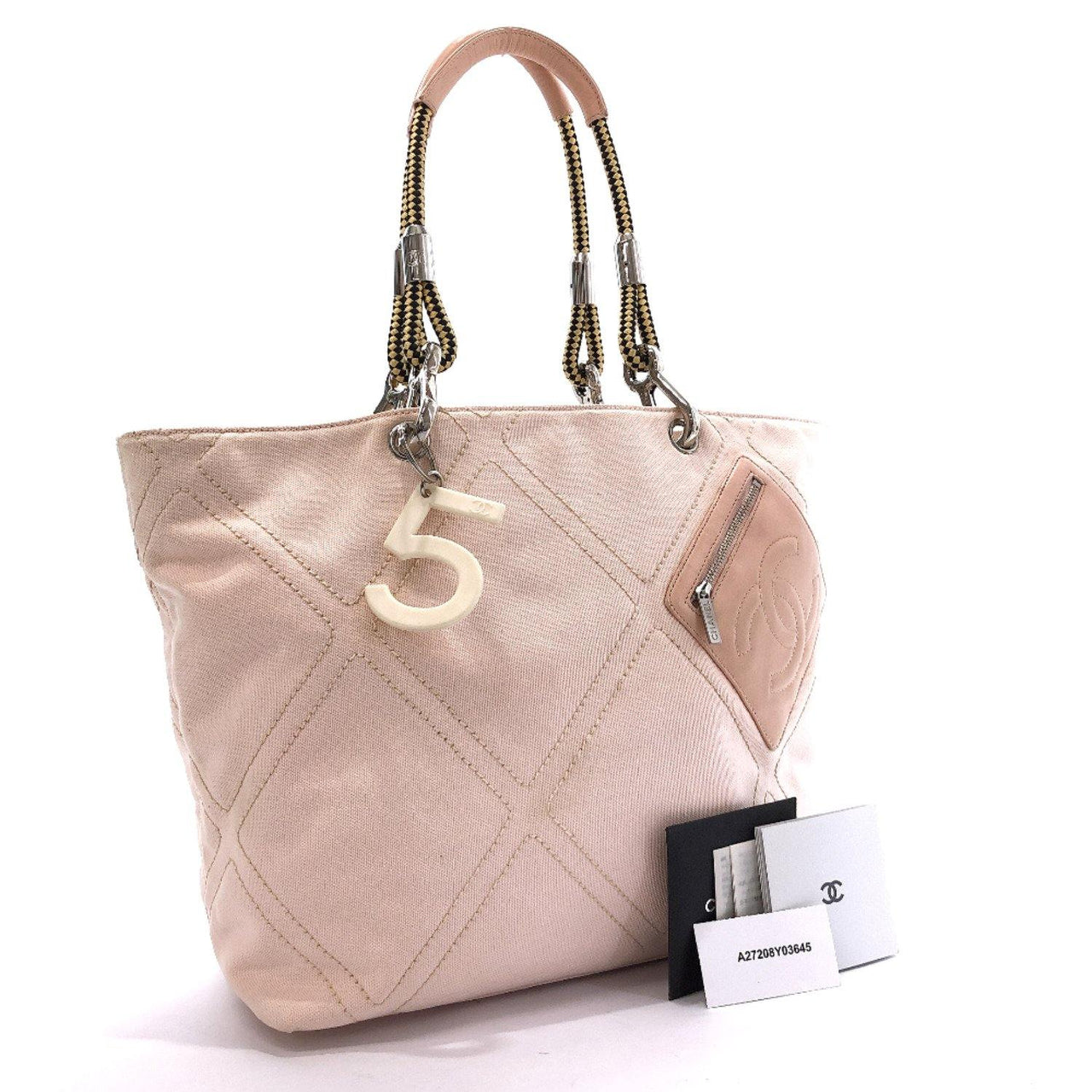 CHANEL Tote Bag canvas pink Women Used