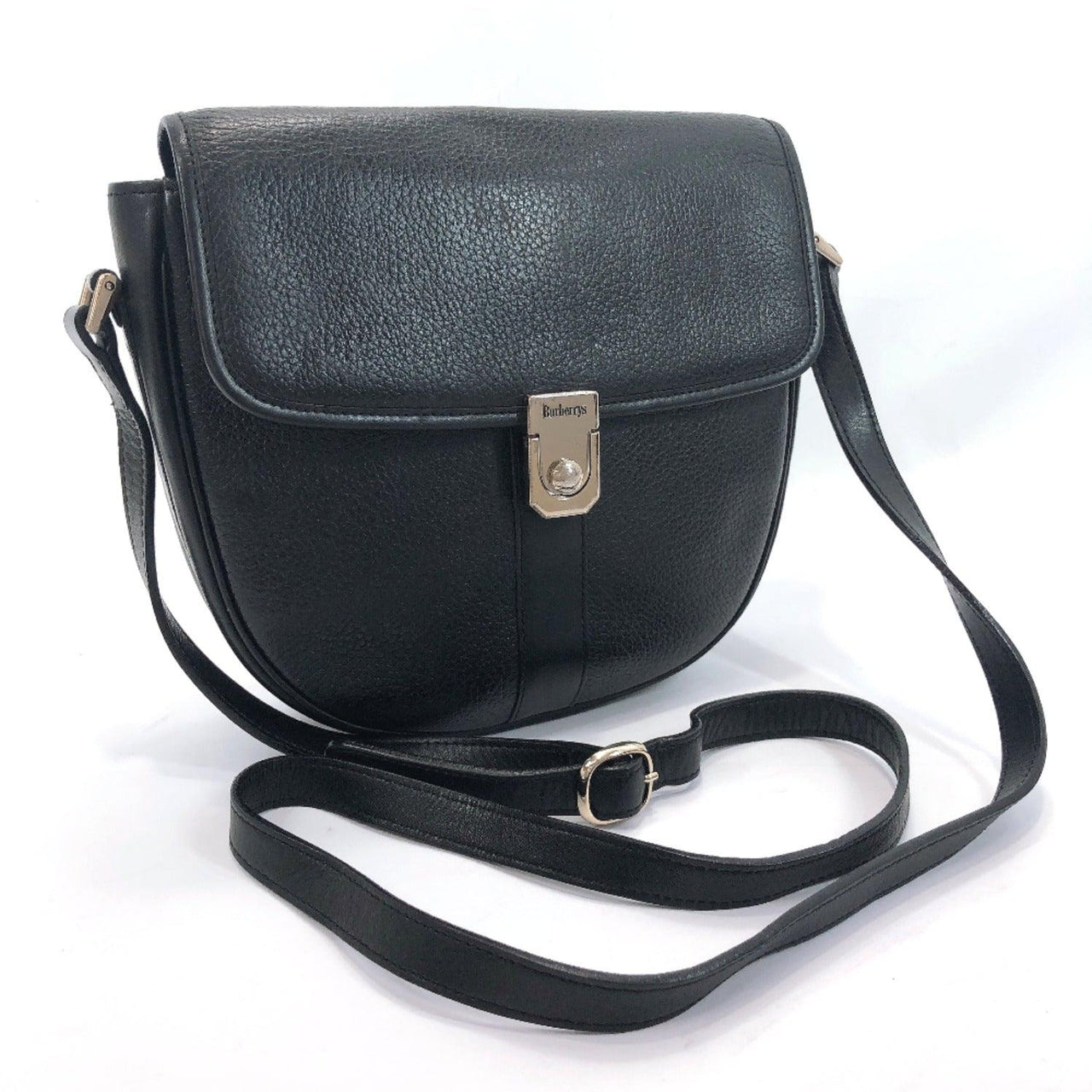 BURBERRY Shoulder Bag vintage leather black Women Used