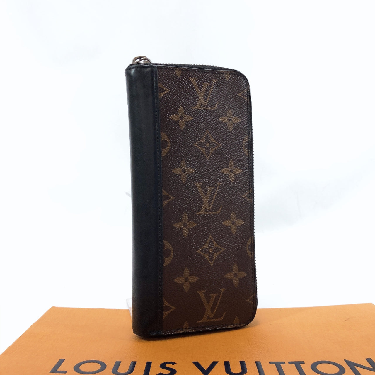 LOUIS VUITTON purse M60109 Macassar zippy wallet Vertical/Monogram Brown black Used