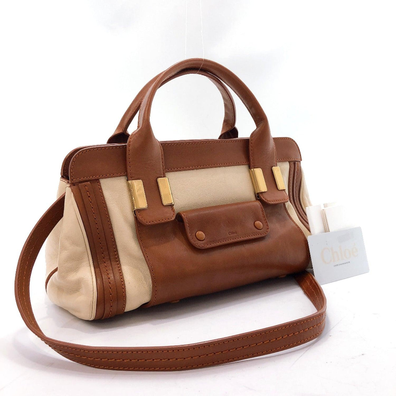 Chloe Shoulder Bag Little Alice 2way leather beige Brown Women Used