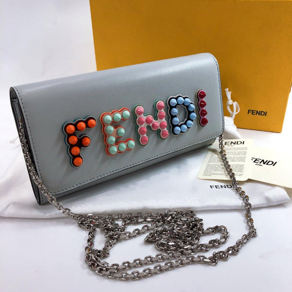 FENDI purse 8M0365 A13J F10XP Logo studs Chain wallet leather blue Ice blue Women New