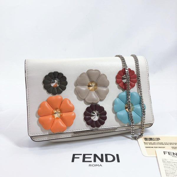 FENDI Shoulder Bag 8M0346-9JP Chain wallet Flower studs leather white multicolor Women Used