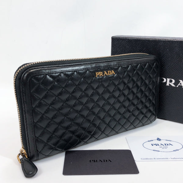 PRADA purse 1M0506 quilting Round zip leather black Women Used