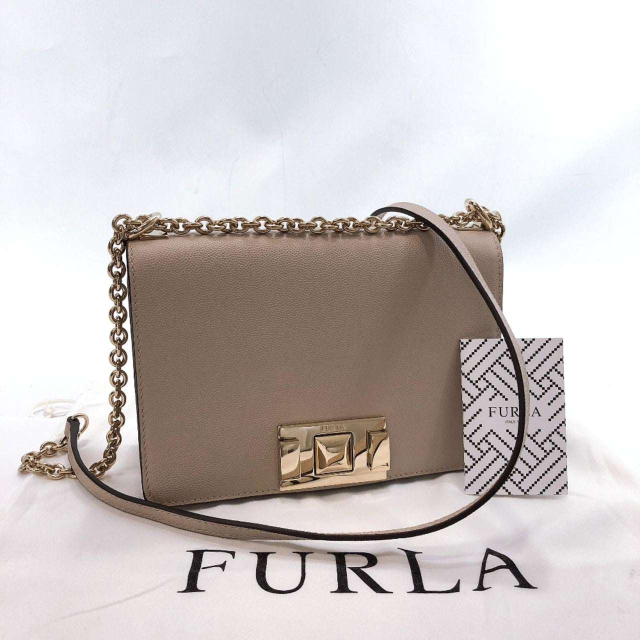 Furla Shoulder Bag Mimi Chain leather beige Women New