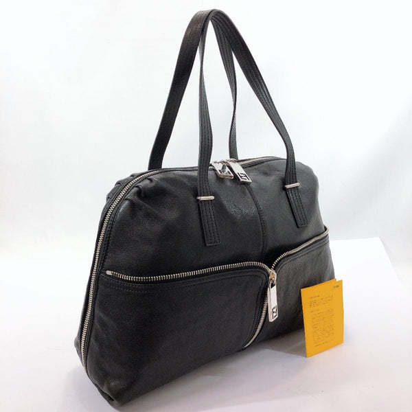 FENDI Tote Bag 8BR623-CV5 108-2516 Unzipped Zucca pattern leather black Women Used