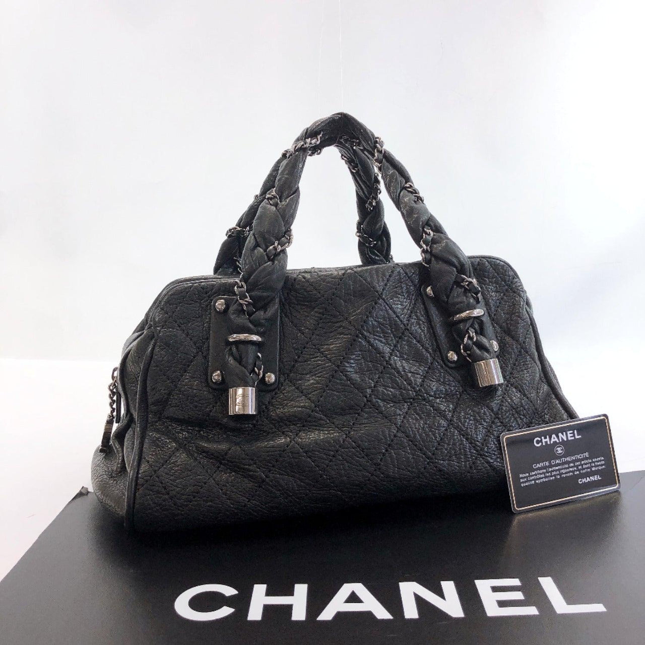 CHANEL Handbag Matelasse Luxury line leather black SilverHardware Women Used