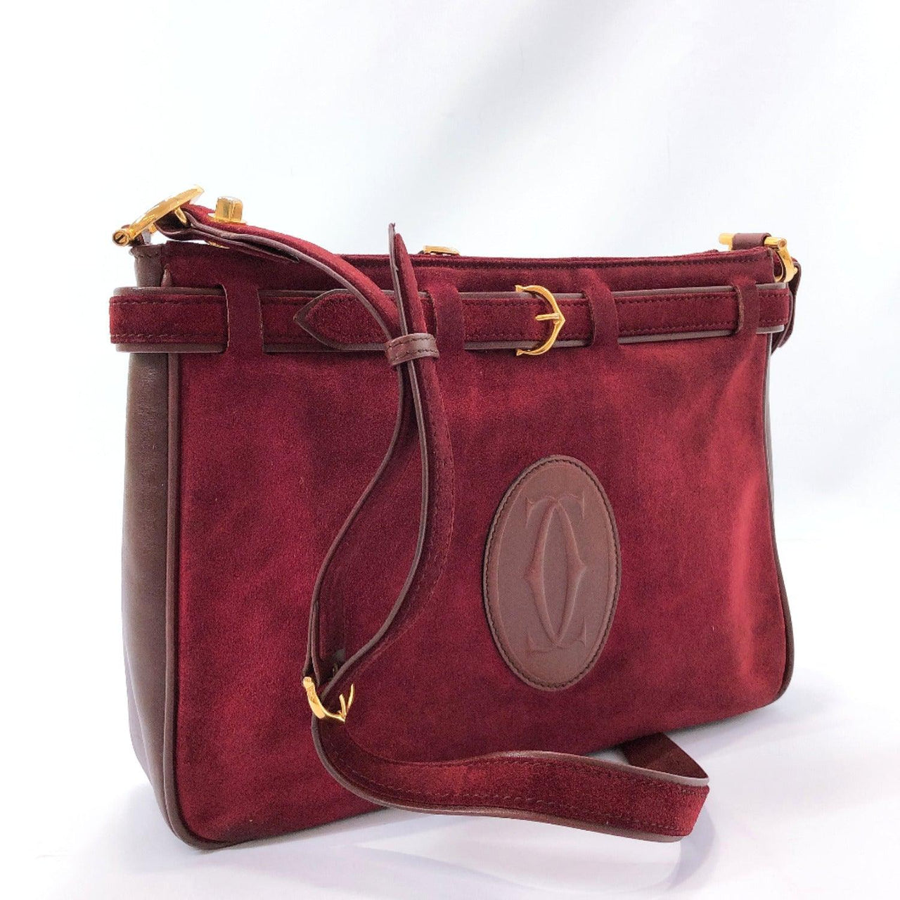 CARTIER Shoulder Bag Must Line vintage Suede/leather Red Women Used