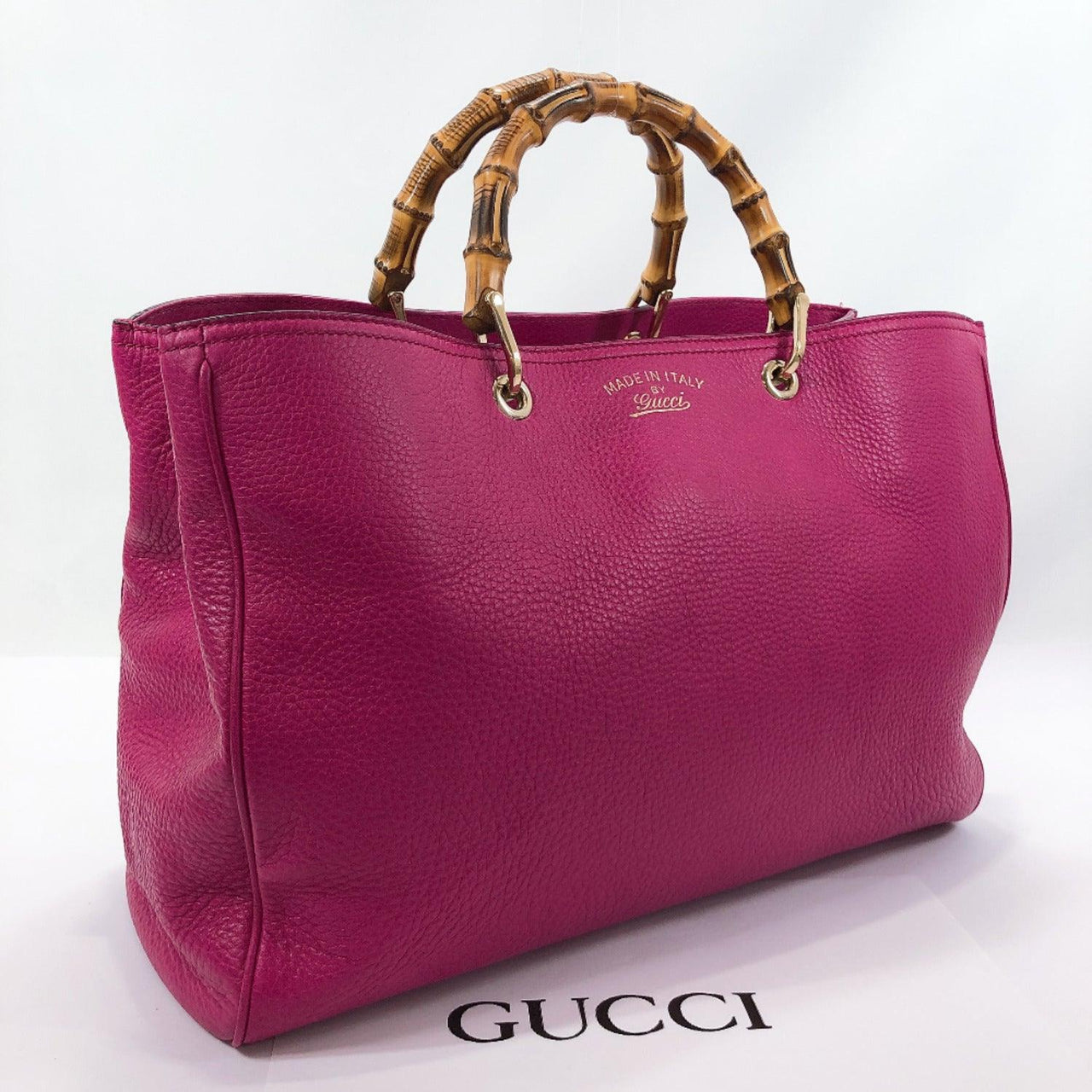 GUCCI Tote Bag 323658 Bamboo leather pink Women Used