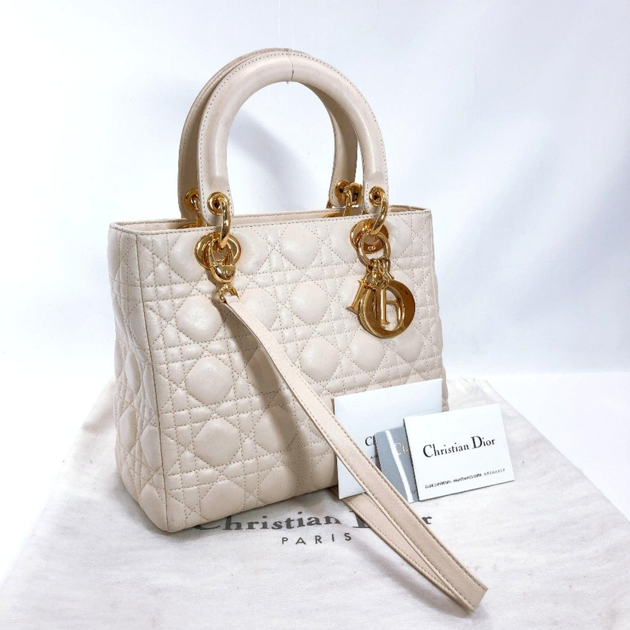 Christian Dior Handbag Lady Dior Canage leather off white Gold Hardware Women Used