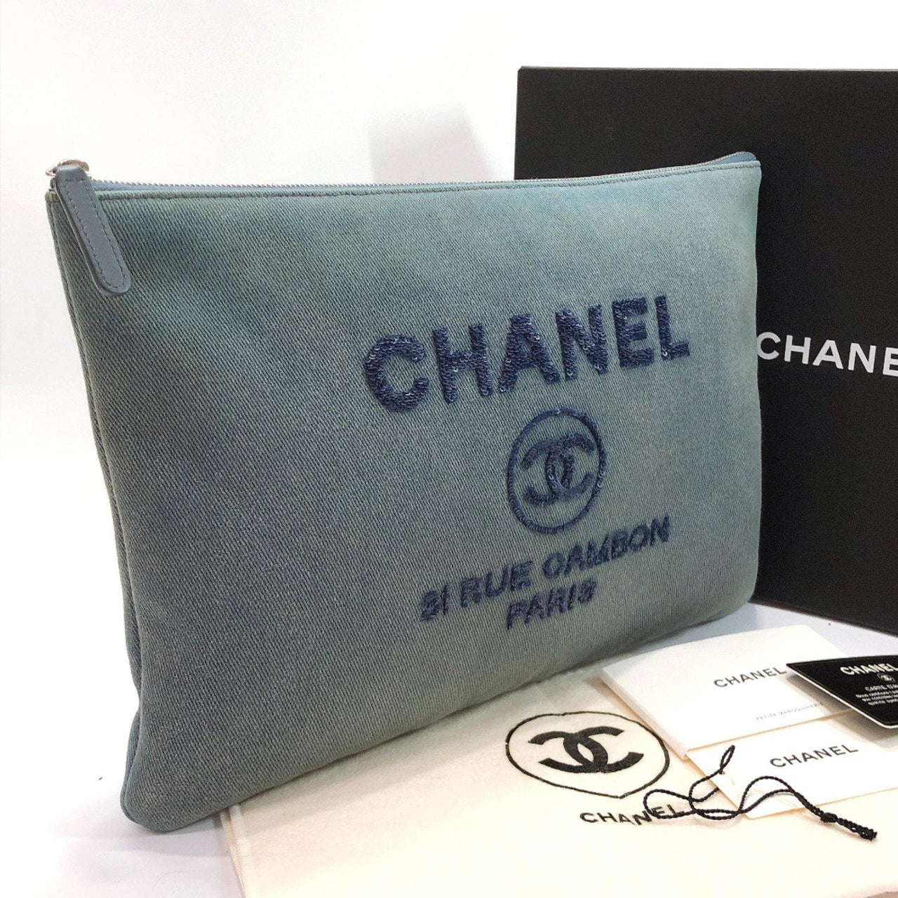 CHANEL Clutch bag A80117 Deauville Sequin denim blue Women Used