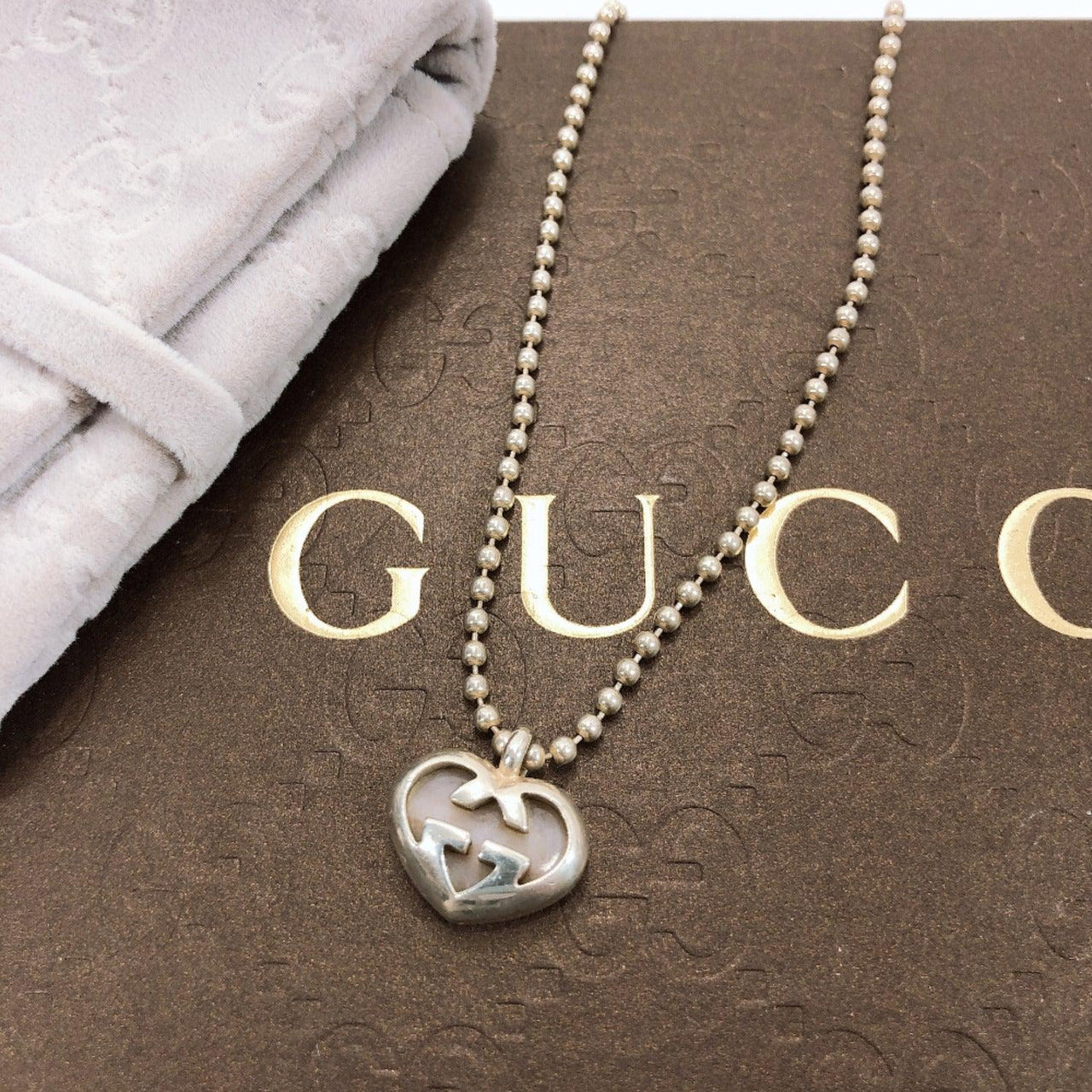 GUCCI Necklace Interlocking G heart Silver925 Silver Women Used