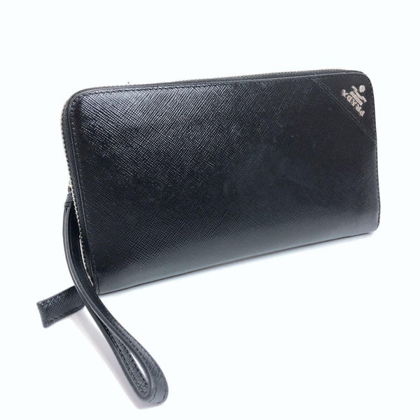 PRADA purse Safiano leather black mens Used