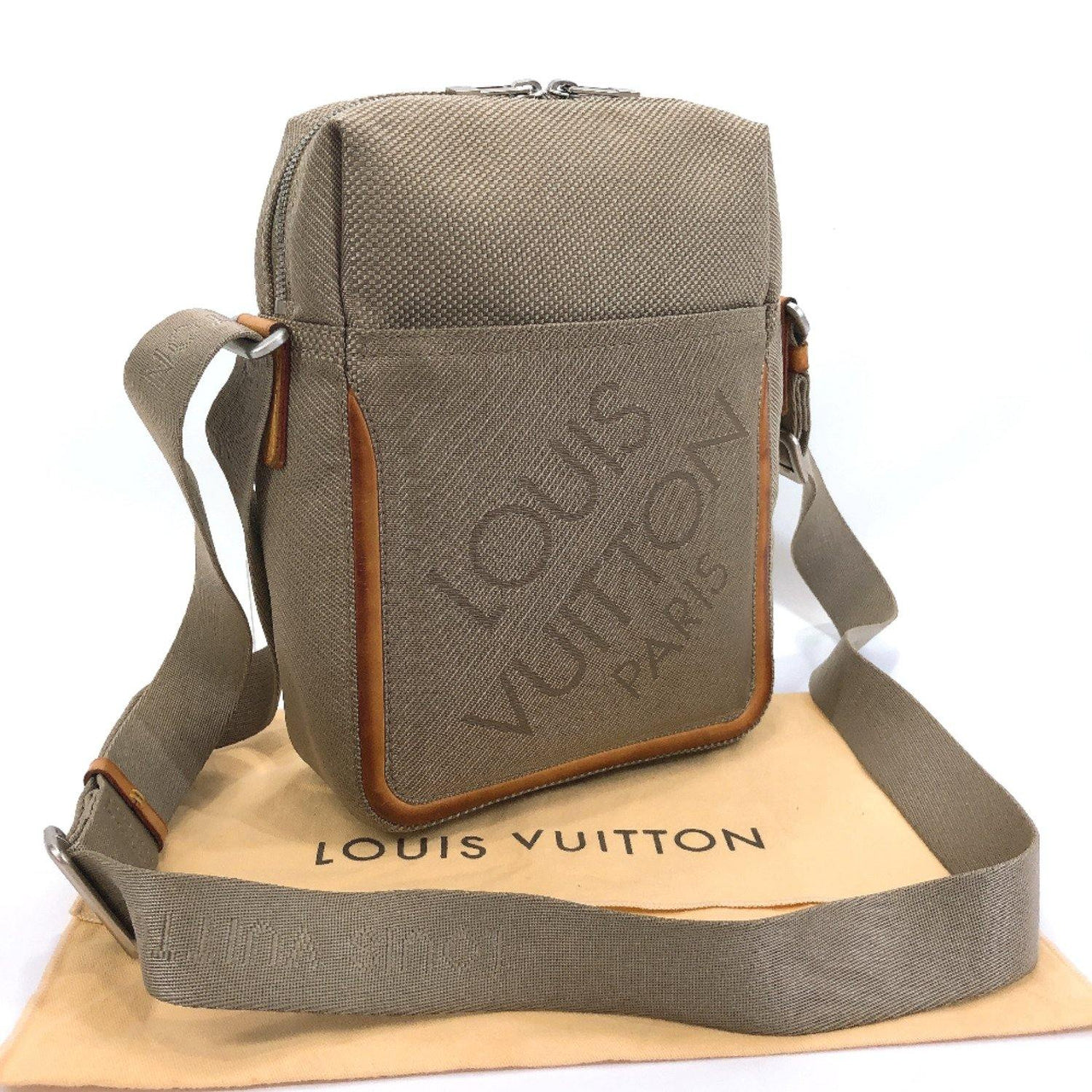 LOUIS VUITTON Shoulder Bag M93041 Sitadan Damier Jean Canvas khaki mens Used - JP-BRANDS.com