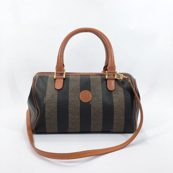 FENDI Boston bag Pekan PVC/leather Brown khaki Women Used