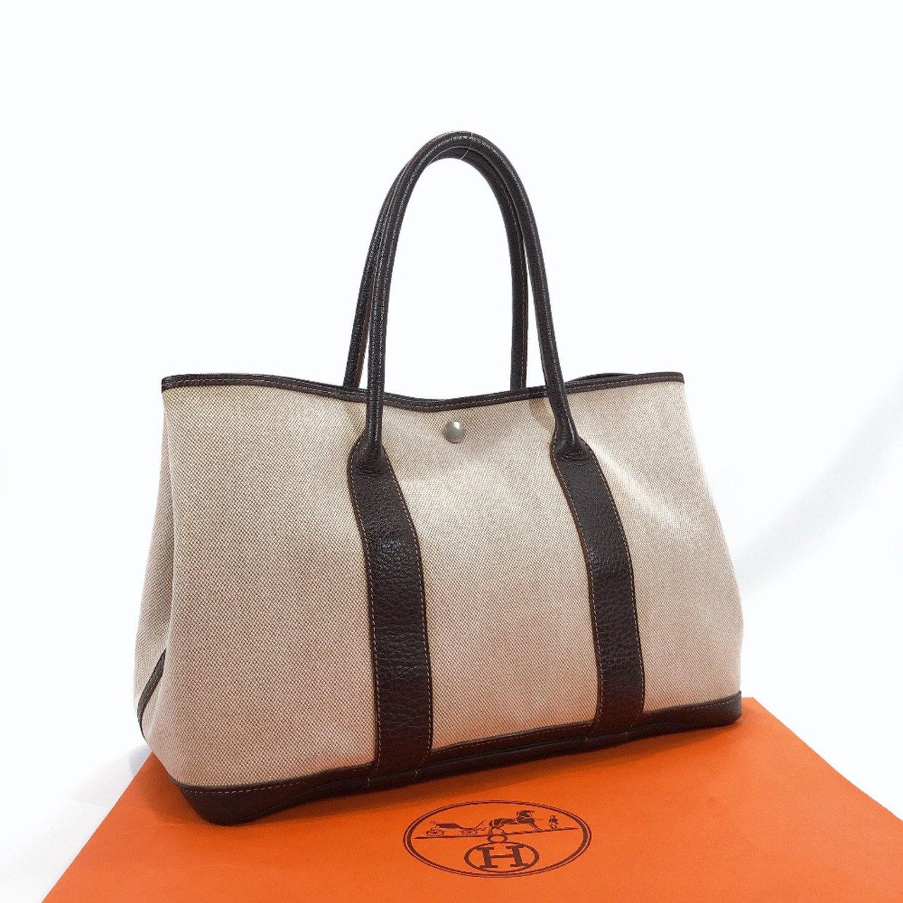 HERMES Tote Bag Garden party PM Tower ash/leather Brown beige Women Used - JP-BRANDS.com