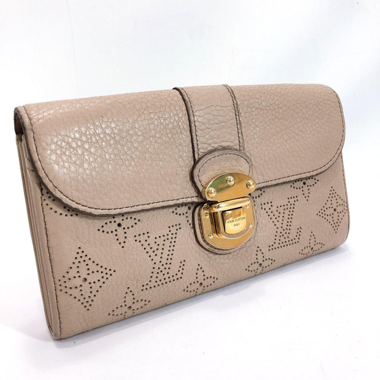 LOUIS VUITTON purse M58094 Portefeiulle Iris Monogram Mahina beige Sable Women Used - JP-BRANDS.com