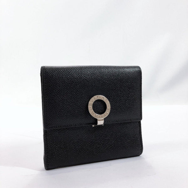 BVLGARI wallet leather black SilverHardware unisex Used