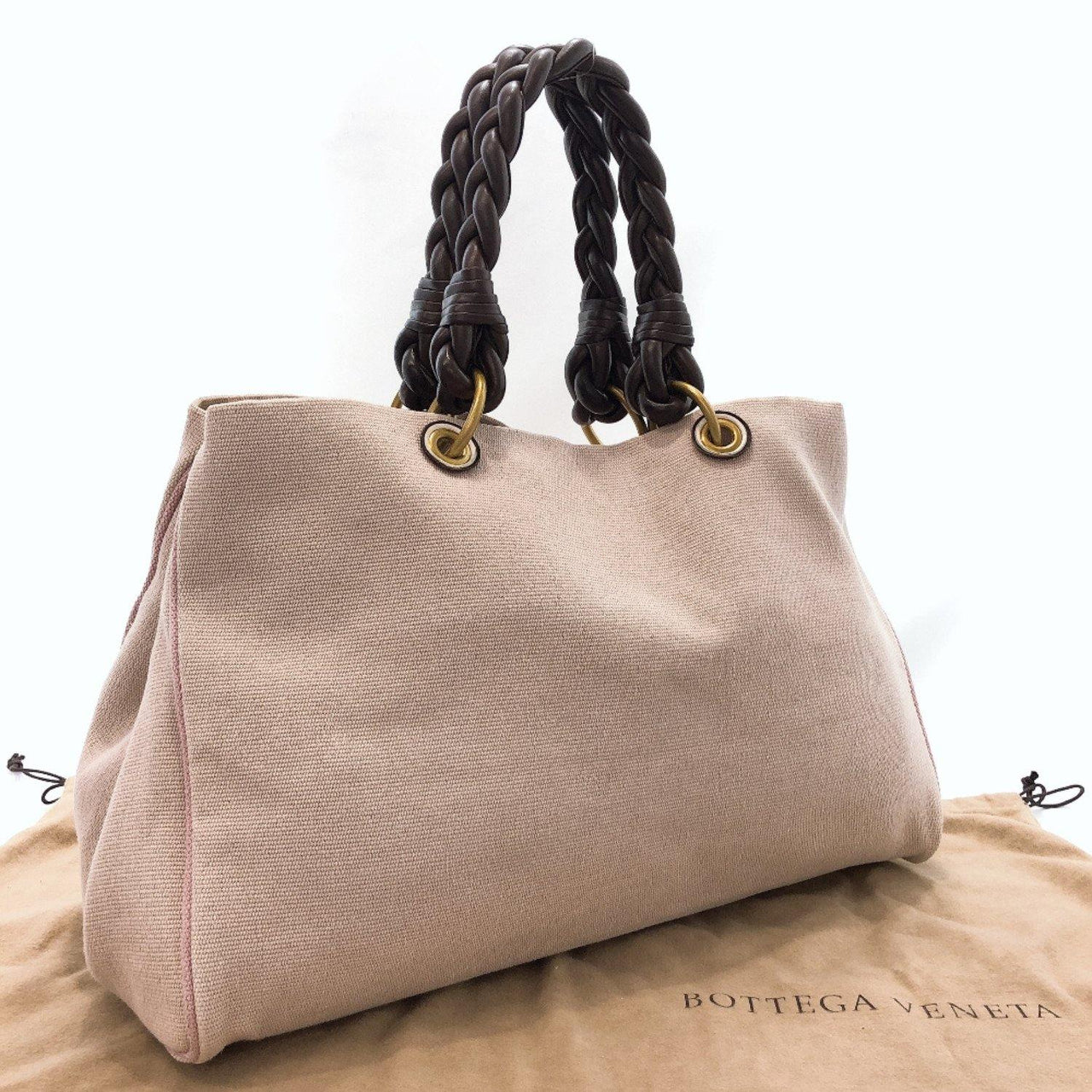 BOTTEGAVENETA Tote Bag canvas pink beige Women Used