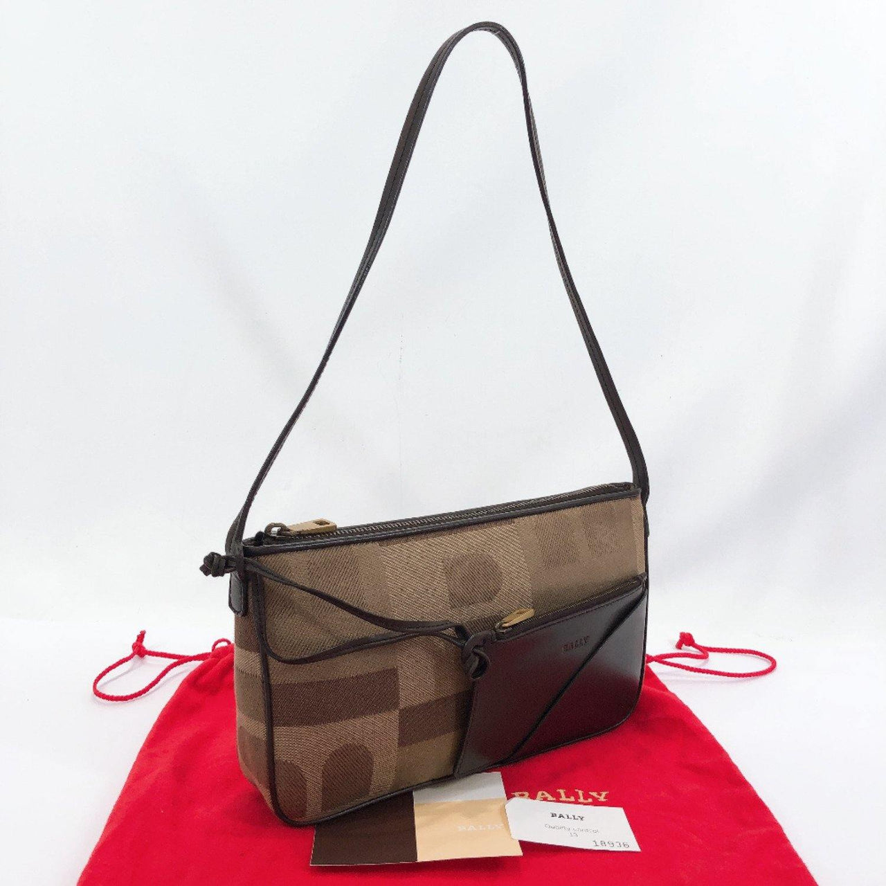 BALLY Shoulder Bag BASSORA canvas/leather Brown Women Used