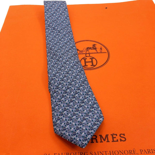 HERMES tie 605839 IA Gondola pattern silk blue mens Used - JP-BRANDS.com