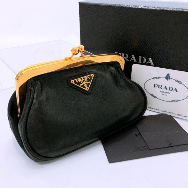 PRADA coin purse 1M1179 Sword wallet/Nappa leather black Gold Hardware Women Used