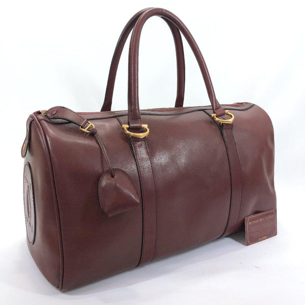 CARTIER Boston bag vintage Must Line leather Bordeaux Women Used