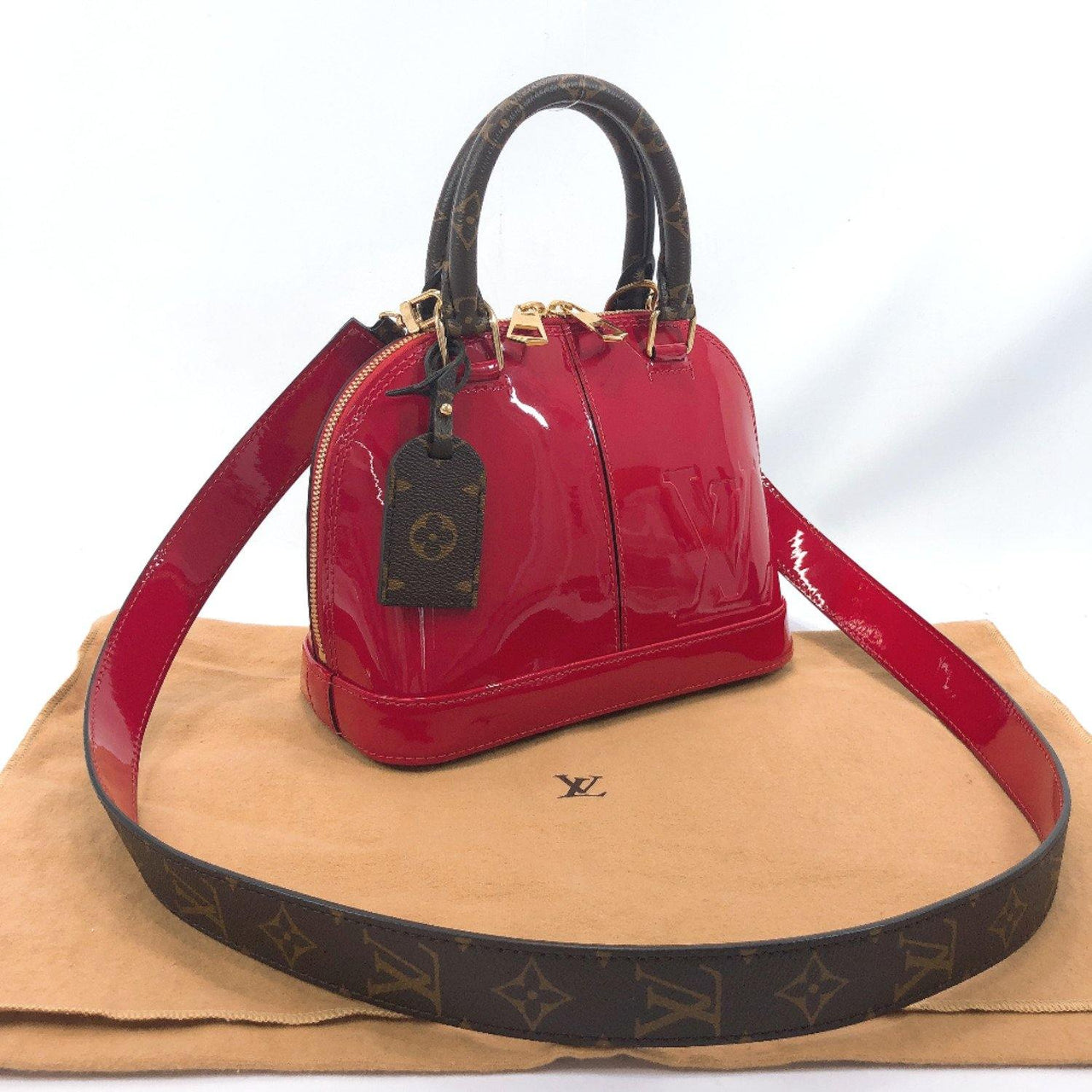 LOUIS VUITTON Handbag M52498 Alma BB Vernis Red (scarlet) Women Used - JP-BRANDS.com