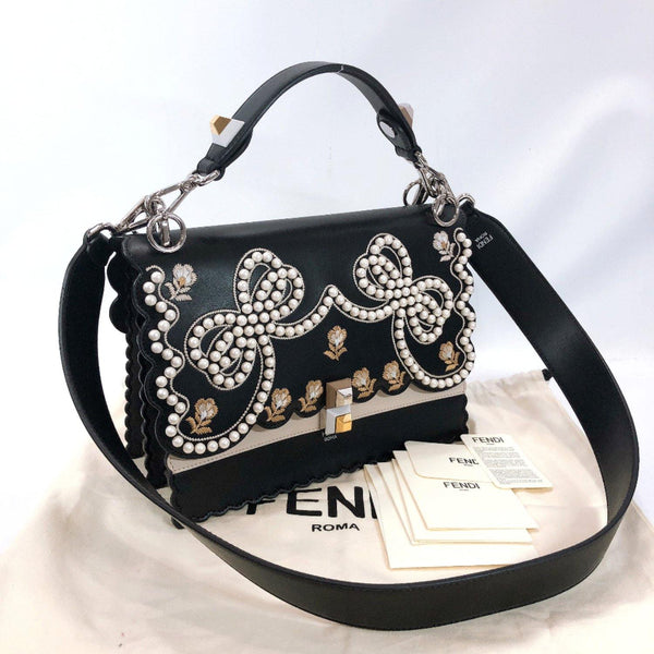 FENDI Shoulder Bag 8BT283 Canai Fake pearl embroidery 2WAY leather black Women Used