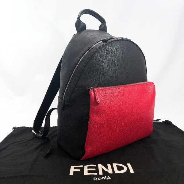 FENDI Backpack Daypack 7VZ012 Celeria leather black mens Used