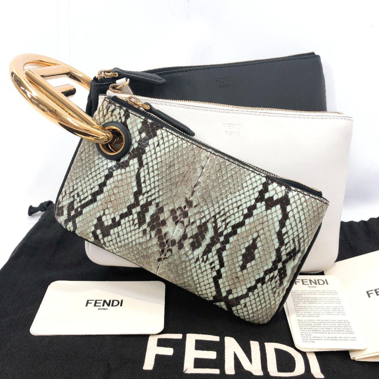 FENDI Clutch bag 8BS008 Triplet Calfskin black white Women Used - JP-BRANDS.com