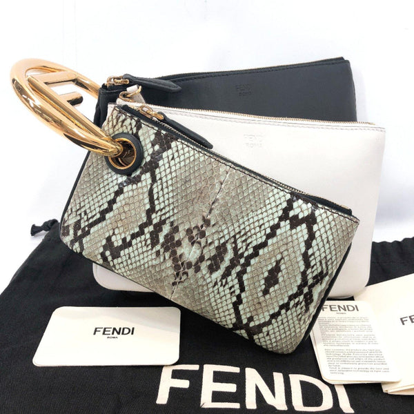 FENDI Clutch bag 8BS008 Triplet Calfskin black white Women Used