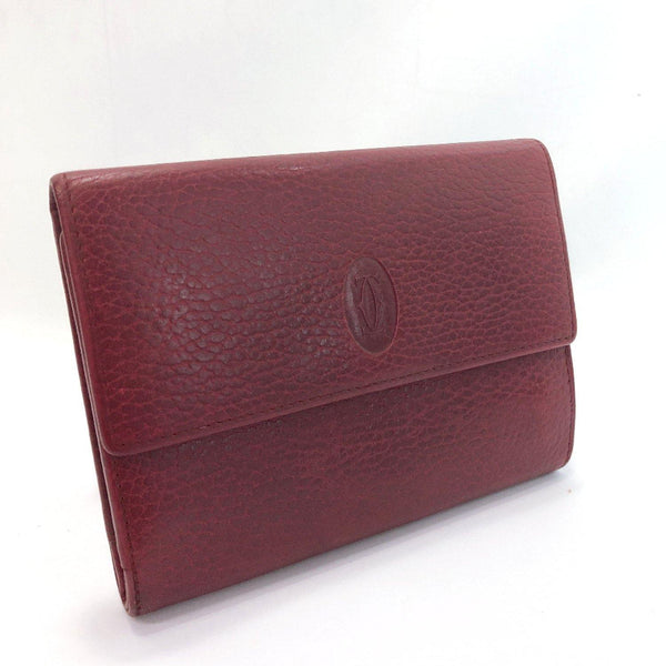 CARTIER Tri-fold wallet Must Line leather wine-red gold Women Used