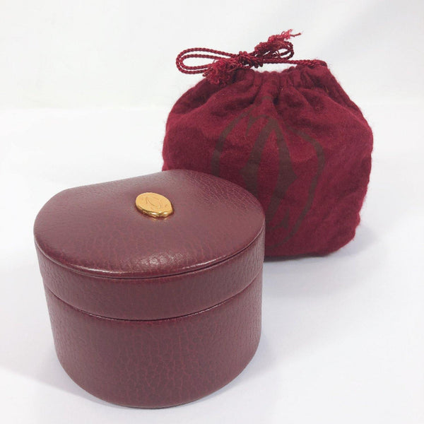 CARTIER Other accessories Jewelry case Must Line leather wine-red Women Used
