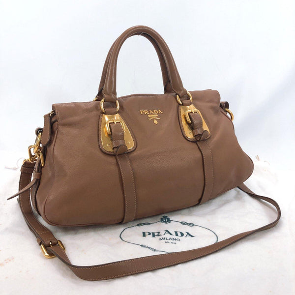 PRADA Handbag BN1903 2way Mini Boston leather Brown Women Used