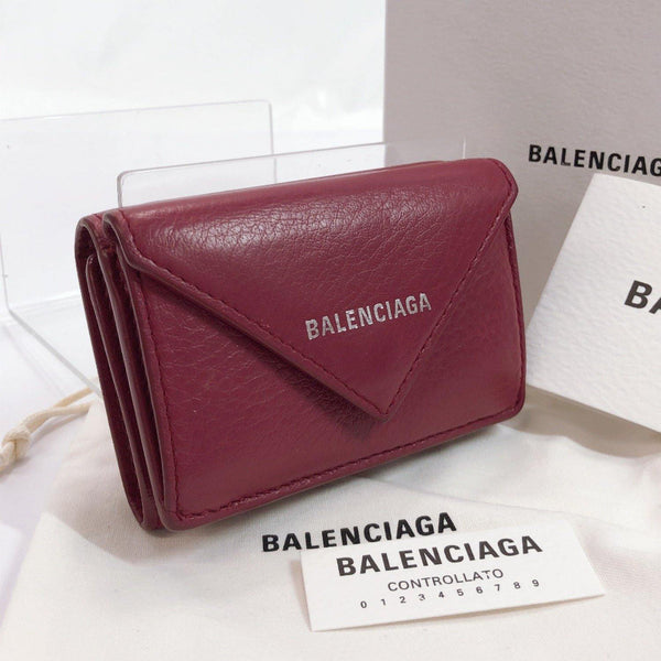 BALENCIAGA Tri-fold wallet 391446 Paper mini wallet leather wine-red Women Used