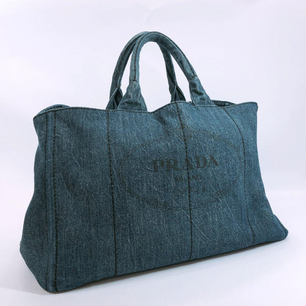 PRADA Tote Bag Canapa L size denim blue Women Used