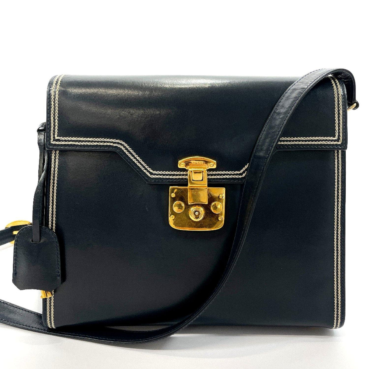 GUCCI Shoulder Bag 00146 1504 Ready lock vintage leather Navy Women Used - JP-BRANDS.com
