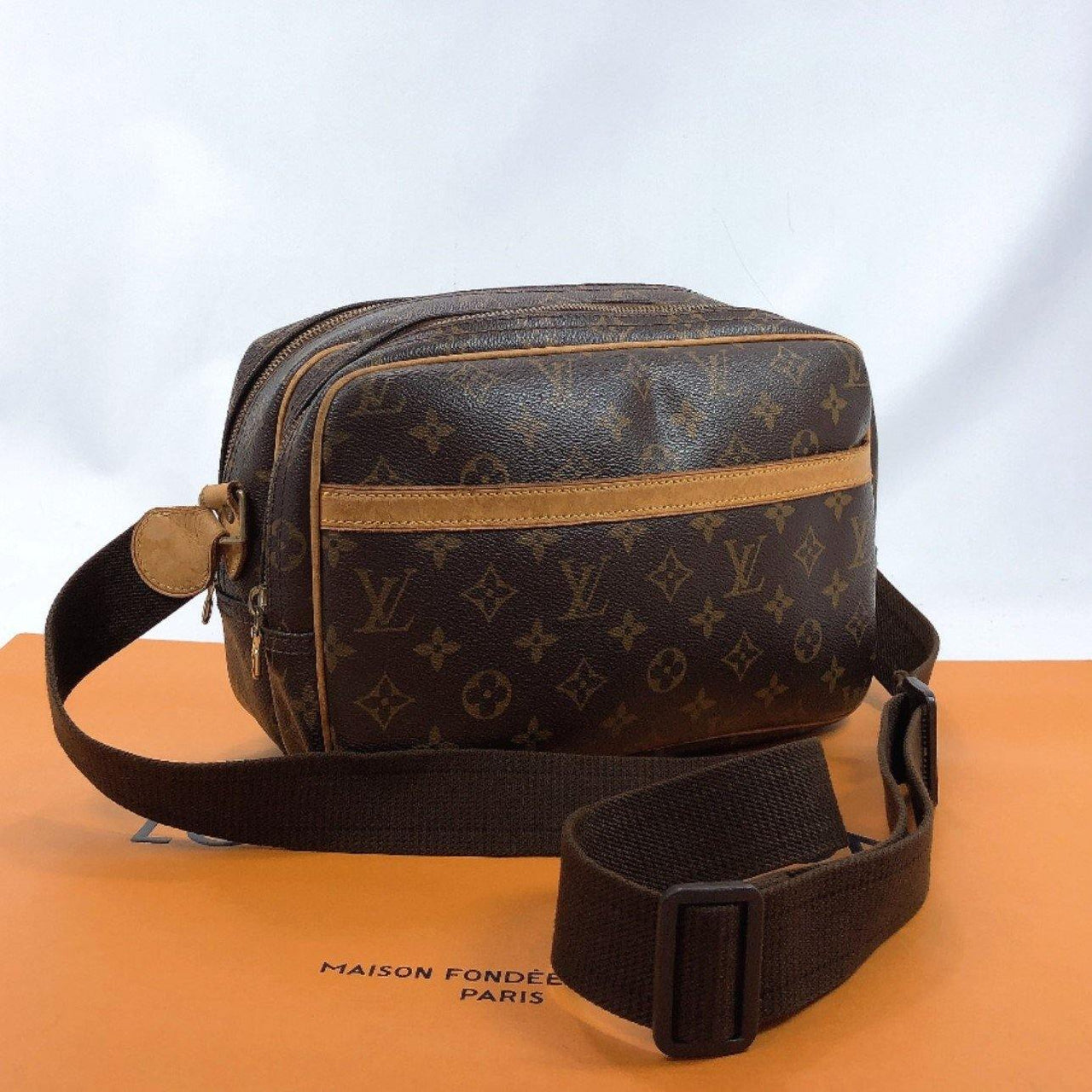 LOUIS VUITTON Shoulder Bag M45254 Reporter PM Monogram canvas/Leather Brown unisex Used