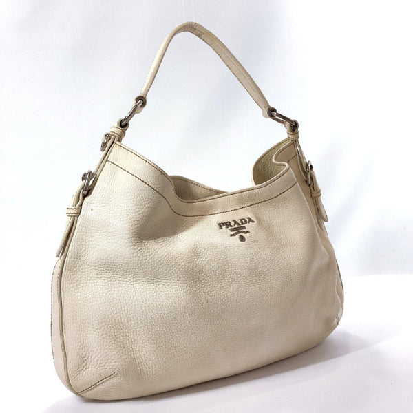 PRADA Shoulder Bag one belt leather white Women Used