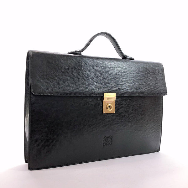 LOEWE Business bag vintage Anagram logo leather black mens Used