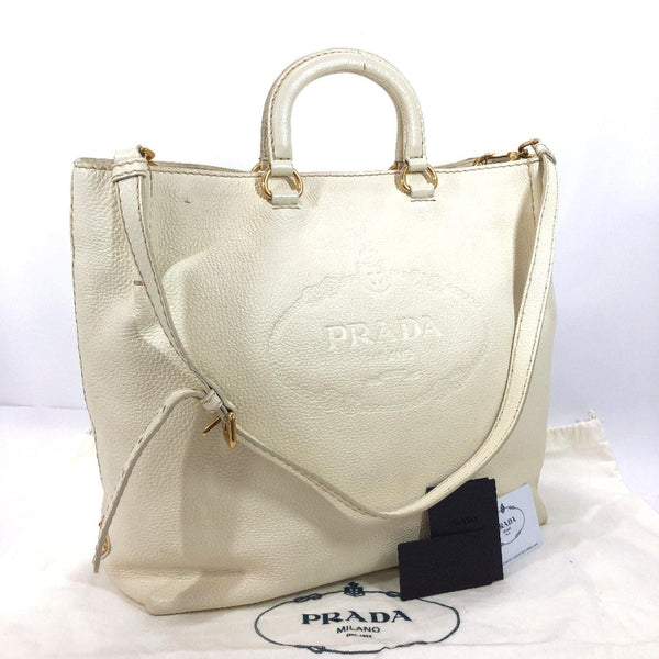 PRADA Tote Bag 1BH096  BANDOLIERA 2way leather/VIT.DAINO white TALCO Women Used