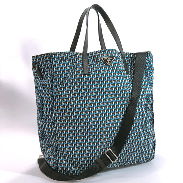 PRADA Tote Bag 2way Nylon blue Brown Women Used