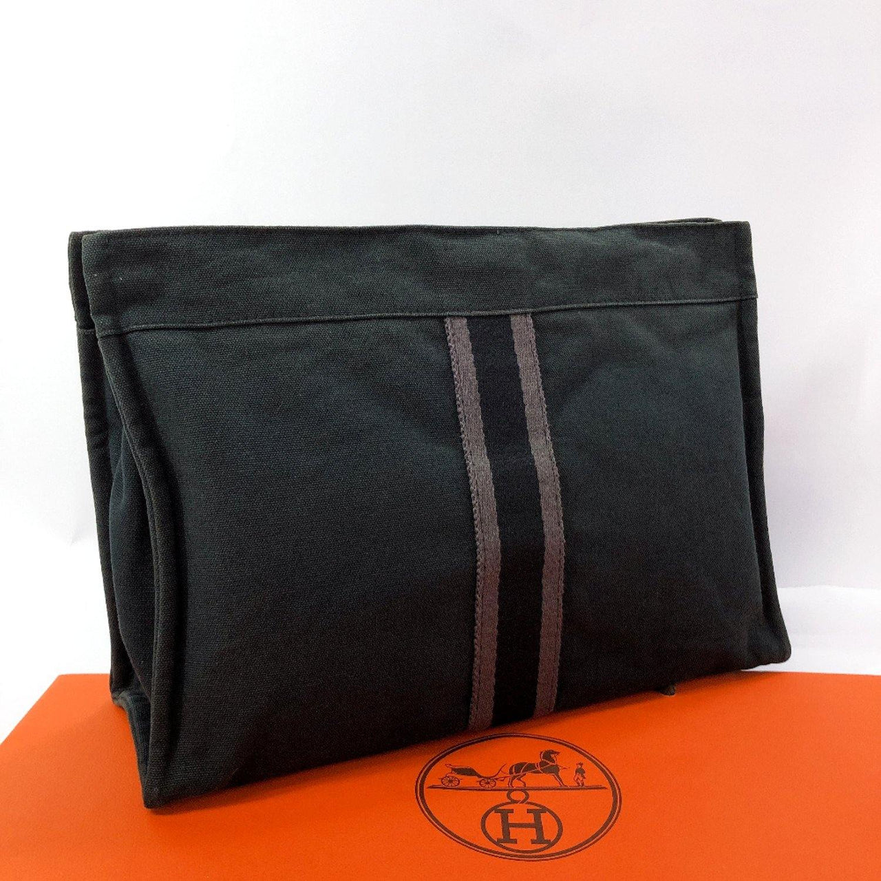 HERMES Clutch bag fool toe canvas black unisex Used