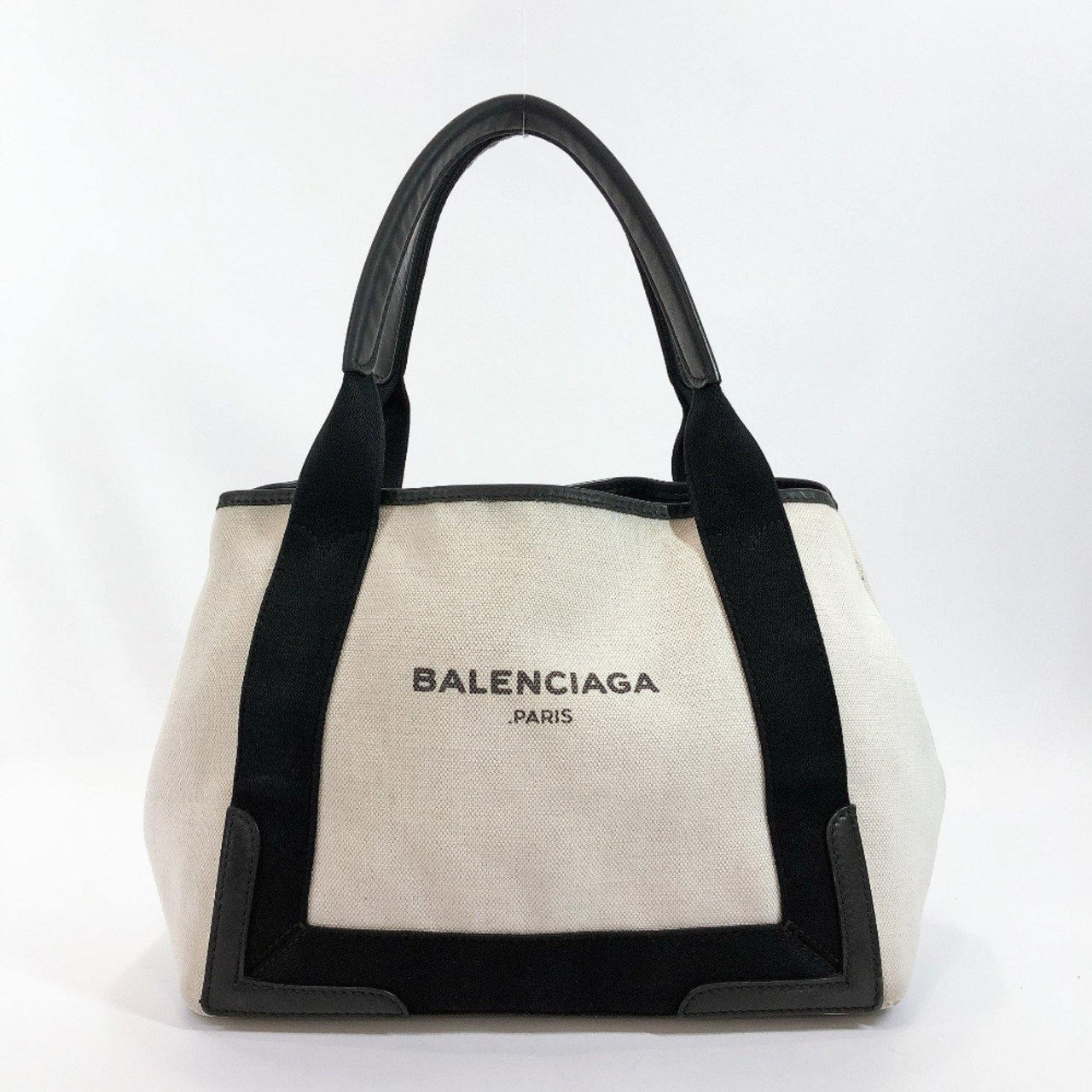 BALENCIAGA Handbag Navy kabas canvas white black Women Used