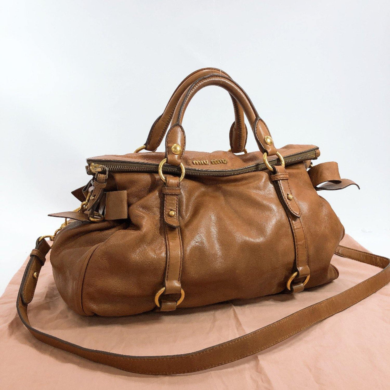 Miu Miu Handbag 2WAY leather/Gold Hardware Brown Women Used - JP-BRANDS.com