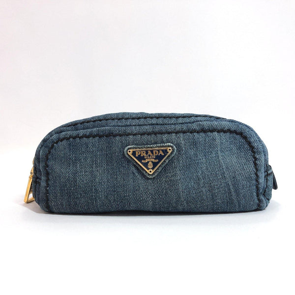 PRADA Pouch denim Navy Women Used