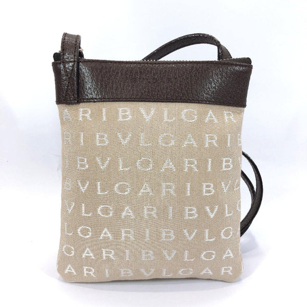 BVLGARI Shoulder Bag 22 588 Sacosh canvas beige unisex Used