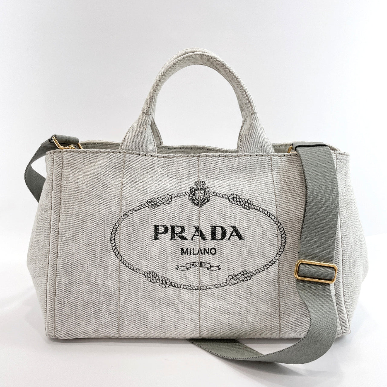 PRADA Tote Bag Canapa Tote L canvas gray Women Used